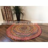 Braid Cotton and Jute Indian Multi Color Floor Rug round yoga mat 2, 3 and 5 Feet