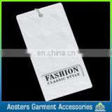 debossed rectangle white hang tag customized for garment dress shoe furniture black cardboard