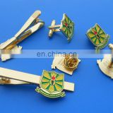 gold plated ghana school gifts badge metal blank tie clip cufflinksfor promotion