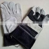 cow boy cow split leather glove, blue jeans fabric
