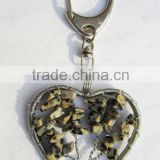Spot stone chip stone lucky tree Heart shape Gemstone keychain,gemstone pendant keyrings,stone key chain