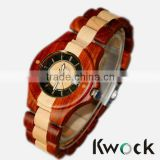 Auto Date,Day/Date,Not Specified Feature and Unisex Gender pure bicolor wood watch