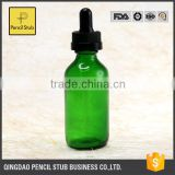 wholesale glass bottles 30ml glass bottles with dropper with childproof evident cap green 60ml boston round glass bottle