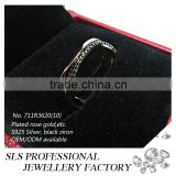 2015 Fashion black plated cz designs silver 925 wedding open ring silver for women