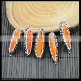LFD-0040B Wholesale Orange Glass Pave Rhinestone Crystal Connectors Beads Jewelry Finding