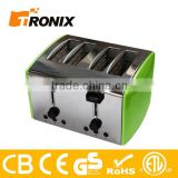 CE ROHS 4 SLICE 1500W INOX COOL TOUCH STAINLESS STEEL TOASTER,FULL FUNCTION 4 SLICE TOSATER