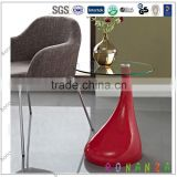 T-108# Round Glass Coffee Table in Red Teardrop Shape ABS Base