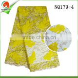 wholesale nigerian fabric tulle lace african fabricwith flower embroidered designs NQ179-4