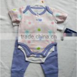 BSCI Passed China Factory Combed Cotton High Quality Hot Sell Baby Clothing Set Infant Romper + Pants Clothing Set