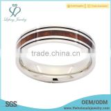 Wholesale popular wood grain inlay titanium engagement ring