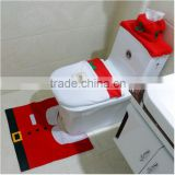 Professional Factory Direct Sell Santa Toilet Seat Cover and Rug Set Christmas Decorations