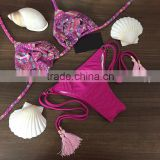 Hot pink flower petal bikinis bathing suit beachwear swimwear bikinis with tassels                                                                         Quality Choice