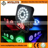 Guangzhou wireless dmx led flat par lights 24pcs *10w 4in1 stage par 64 disco lighting par