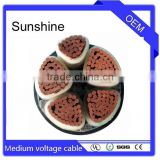 xlpe insulated PVC sheathed medium voltage power cable MDPE copper wire tape amoured 3.6/6kv~26/35kv