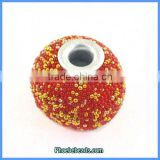 Wholesale Red & Gold Indonesia Round Resin Necklace Beads PCB-M100558