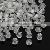 8/0 Glass Round Seed Beads, Loose Clear Micro Beads, 3x2mm(SEED-D003-08)