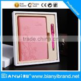 Hot sale women fashion leather and pen promotion gift set made in China