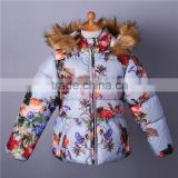 Hot Winter Girls Floral Outerwear Worsted Hooded Down Coat Warmth Baby Child Clothing OC81118-2