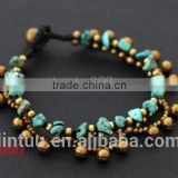 New products for 2016 natural stone turquoise brass bell bracelet for women                                                                         Quality Choice