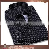 100% cotton latest custom white with black dot dress shirt for men