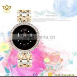 Fashion rose gold watchband and black dial luxury desidnJapan movt slim stone quartz watch 8103