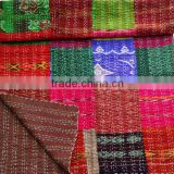 Beautiful Multi color vintage patola silk sari patchwork quilt bed cover throw