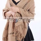100% fine cashmere wool shawl with laces