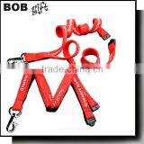 Red colour polyester lanyard with metal clip pand safety break