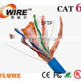 SFTP CAT 6 Network cable 24AWG Copper Conductor Filler HDPE Insulation PVC Sheath AL Foil Shield Lan