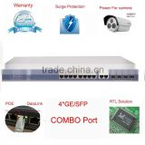 16 Port PoE + 4 uplink port giga SFP/TX combo 16 port POE Switch 802.11af/at compliant power for IP camera and wireless AP