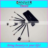 High quality 9pcs discount makeup brush kits,Black cosmetic brush set with bag free sample