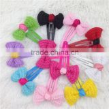 Bobby Pin with Bow for Girls Hair Clips Children Hair Accessories Girls Bobby Pin with Flowers 10color IN STOCK