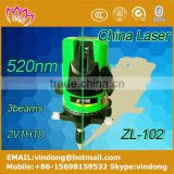 2016 new model 3 beams 520nm green auto laser level cross lines indoor and outdoor high accuration