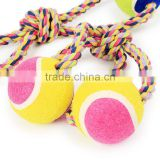 Pet color strands of cotton rope with double ball eight large dog figure 8 with Double Tennis wholesale