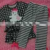 High Quality 100% Cotton Baby Halloween Garment Infant Kids Girls Ghost Print Top&Black Stripe Pant two piece Sets
