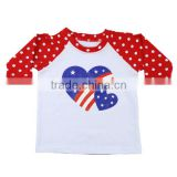 Ptriotic baby girls boutique clothes wholesale kids cotton t shirt 4th of July children raglan shirt design