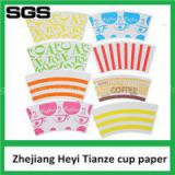 Pe Coated Custom Printed Paper Cup Fan For Paper Coffee Cups With Logo