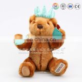 Custom soft plush toy bear with crown