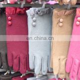 Winter lady full finger gloves with button