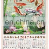 cheap professional custom cane wall scroll calendar 2017,paper wall calender printing