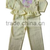 yellow print children long sleeve suit for girl from knitting factory in China whole production