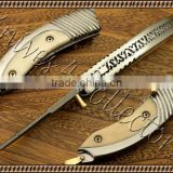 "udk f9"" custom handmade Damascus folding knife / pocket knife with camel bone and beautiful steel booster"