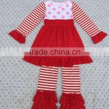 Wholesale baby girl clothing dress stripe long sleeve matching icing ruffle pants boutique outfit