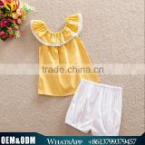2016 Popular Design Baby Girl Cloth Set Summer Girl Cotton Clothes Yellow Cotton Lace Collar Design Ins Hot Sale Clothing