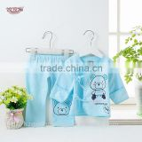 wholesale combed cotton long seelves underwear baby clothes sets with printed design