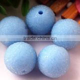 Large Cheap 20mm round pastel rhinestone seed glass resin berry bubblegum ball chunky crystal beads for kids jewelry