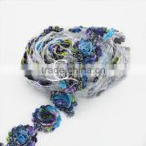 "2.5"" peacock shabbies- printed shabby flower- Aqua/Purple- Chiffon Flowers- Headband Flowers- DIY Supplies- Fabric Flowers"