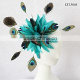 Kentucky Derby Races fascinator,Royal Ascot fascinator,teal peacock feather fascinator on headband                                                                         Quality Choice