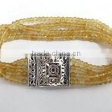 925 sterling silver genuine citrine semi precious gemstone beads bracelet with handmade clasp