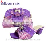 Whoelsale handmade eleglant design purple shoe and matching bag set